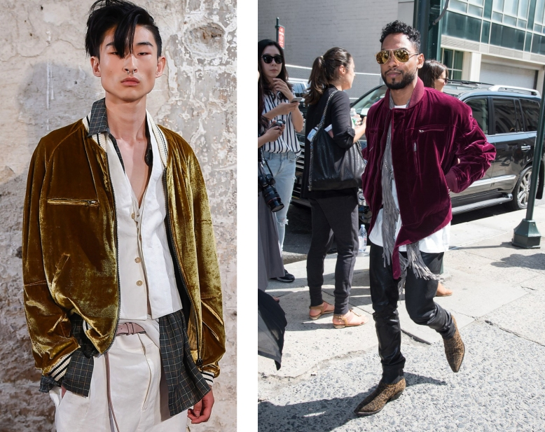 1. https://pbs.twimg.com/media/CKaGgSTWgAAAWCg.jpg by Mitch Grassi 2. http://www.gq.com/story/asap-rocky-kanye-west-velvet-bomber-jacket